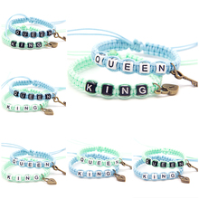 2pcs/pair Classical Couple Bracelets Blue Green King and Queen With Key Lock Rope Chains Lovers Gifts Beaded Charm Bracelet