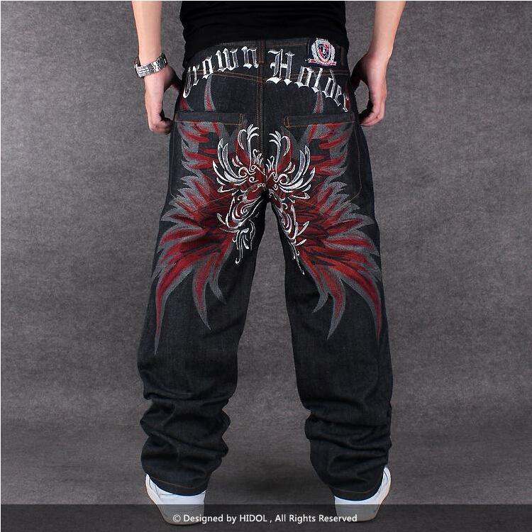 Hip Hop Baggy Jeans For Men Embroidery Pants Fashion Denim Mens Loose Jeans Hip-hop Dance Pants Straight Trousers Full Length