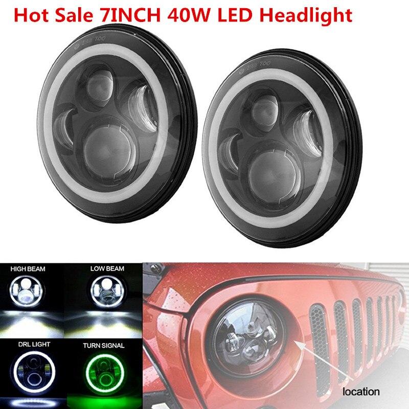 Halo Ring Round led headlight 7 inch Low High Beam Daytime Running light for Jeep Wrangler Land Rover Defender DC 10-30V led halo projctor headlight for