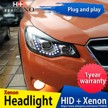 Hireno Headlamp for 2012-2014 Subaru XV Headlight Headlight Assembly LED DRL Angel Lens Double Beam HID Xenon 2pcs