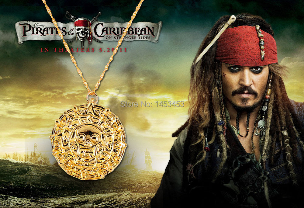 Necklace Gold Plated Pirates of the Caribbean JACK SPARROW AZTE Coin Medallion Necklace
