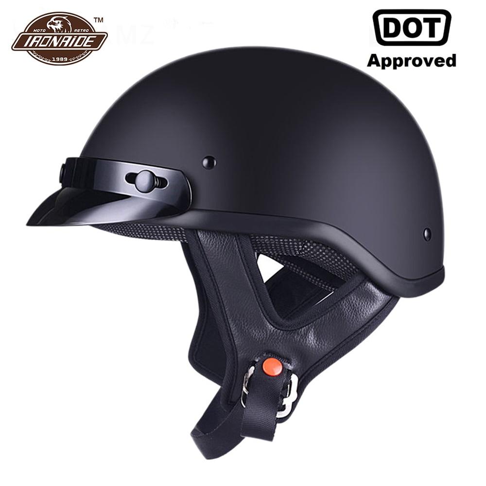 AMZ Motorcycle Helmet Half Face Retro Moto Helmet Vintage German Style Casco Casque Scooter Helmets With