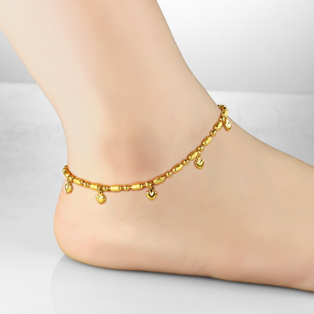 7seas Korean Fashion Gold Color Anklet Heart + Bell Pendant Ankle Jewelry  Bracelet For Cute Girl