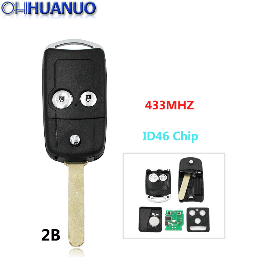 Insert Key Replacement Smart Remote Key Case Fob 2B for Honda Accord CRV Fit