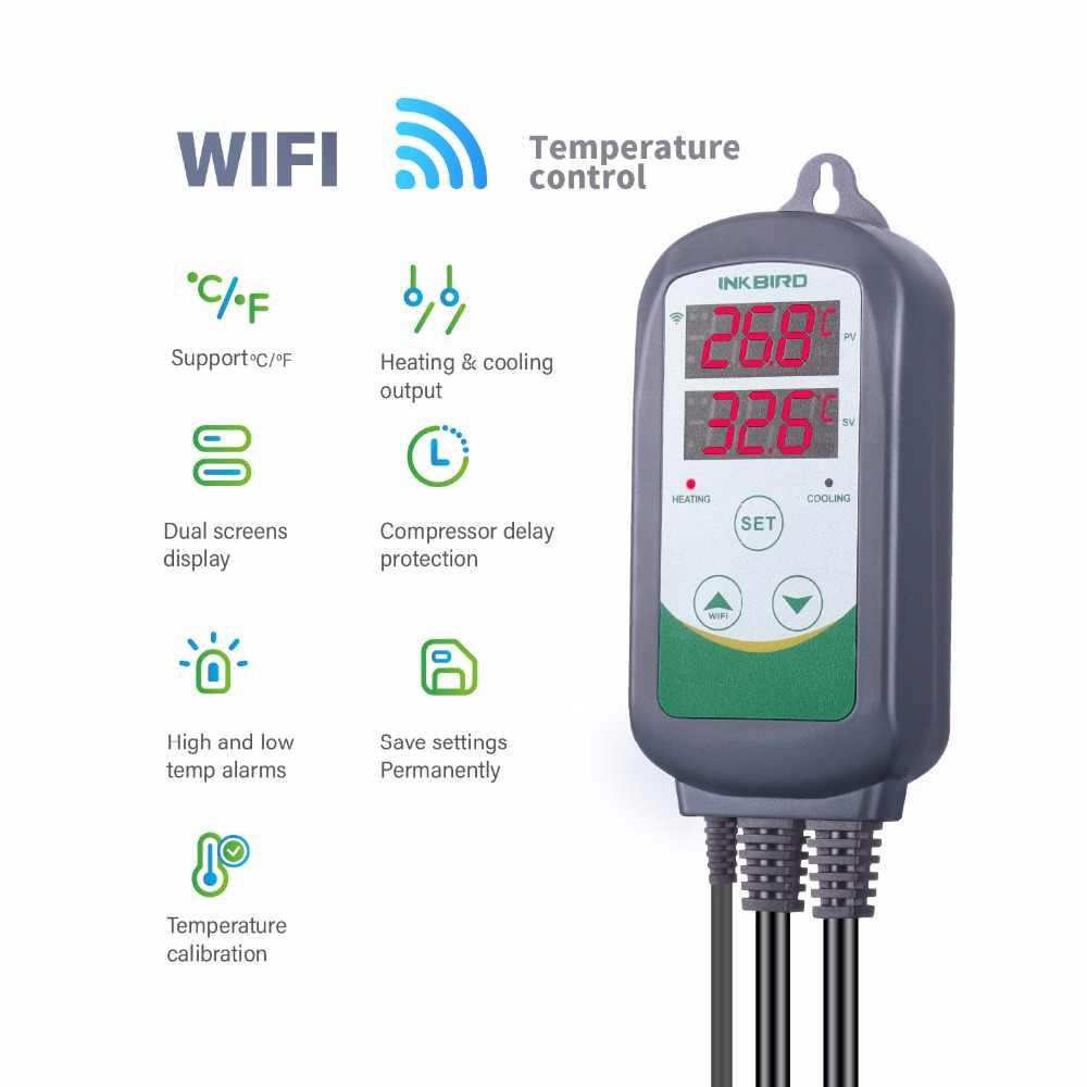 Inkbird ITC-308 wifi eu プラグデジタル温度コントローラーサーモスタットレギュレータ、デュアルリレー 1 加熱 & 1 冷却 homebrewing