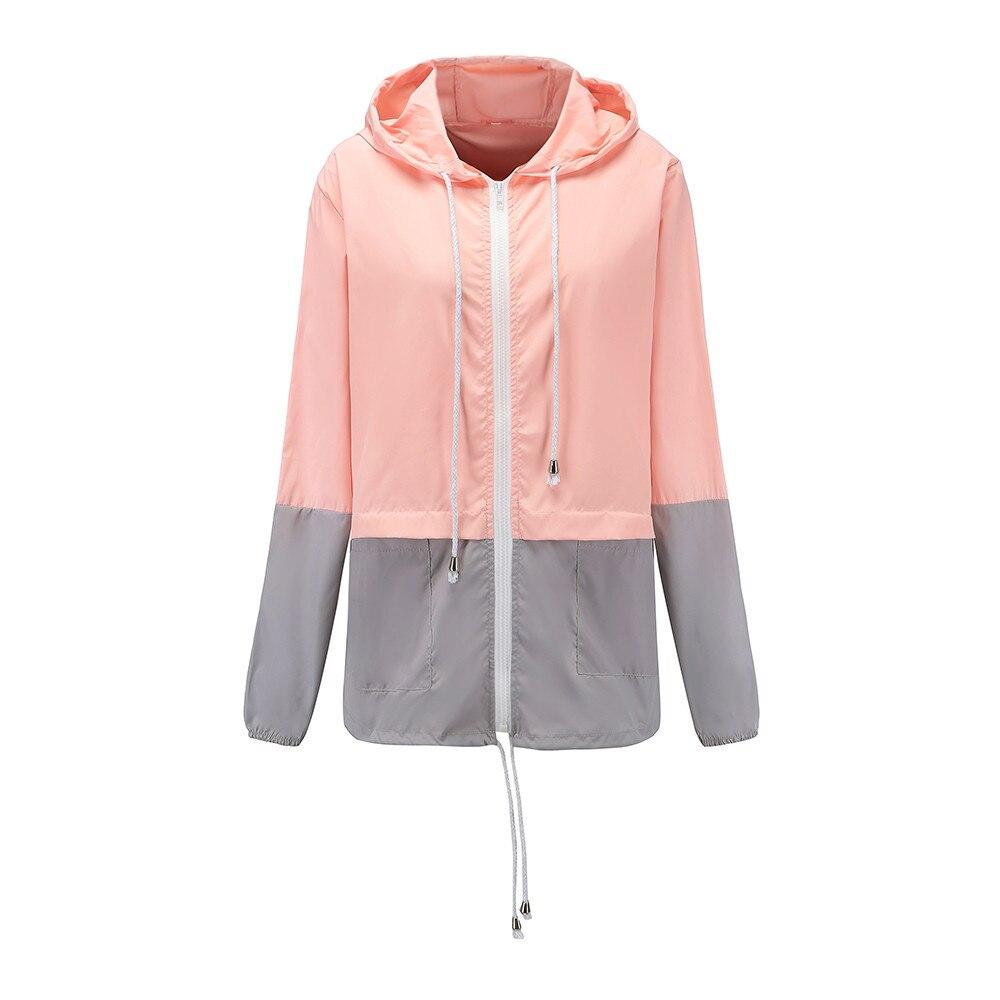 Women's Hooded   Jackets   2019 Summer Causal Wind/Waterproof Women   Basic     Jackets   Outdoor patchwork Sport Rain Coat Bomber Famale