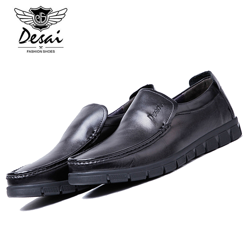 DESAI 2017 Fashion Italian Loafers Men's Brand Casual Office Boat Shoes Genuine Cow Leather Flat Slip-on Shoes DS0020-01 desai brand italian style full grain leather crocodile design men loafers comfortable slip on moccasin driving shoes size 38 43