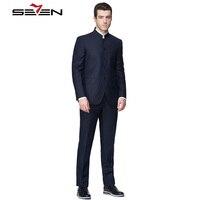 Seven7 Классический строгий костюм для мужчин Slim Fit воротник стойка деловые китайский смокинг мужской костюм куртка штаны, комплект из 2 предме