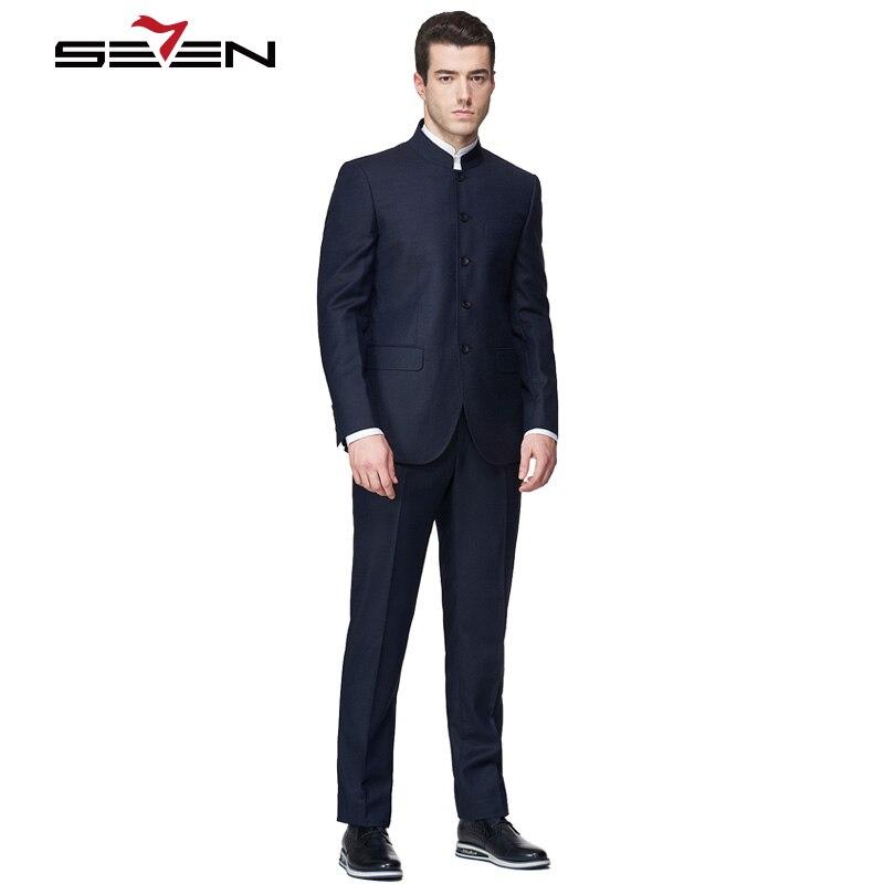 Clásico Traje Fit Para Formal Hombres Mandarin Slim Chino Seven7 AZwxqZ