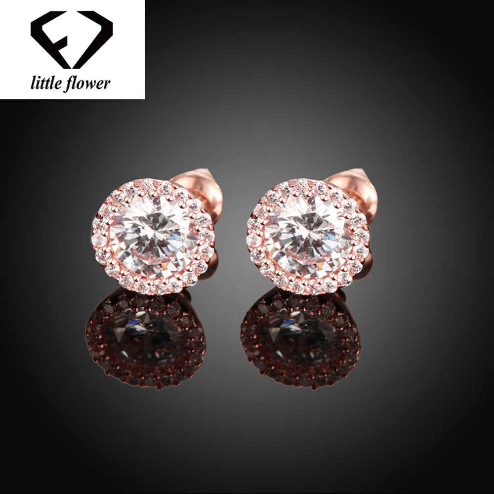 951c3455b640 14 K oro rosa diamante Stud pendientes bizuteria para las mujeres S925 de  plata diamante geométrico