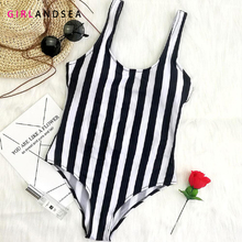 2019 Striped Swimwear One Piece Swimsuit Women Swimsuit Monokini Sport Bodysuit Backless Beach Bathing Suit Swim