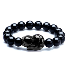 Natural Stone Black Obsidian Fox Pendant Beaded Bracelet 8-16mm Lucky Bracelets Single Lap Hand String Bangle Gift For Men Women fine lavender purple natural crystal bracelets fox pendant evil spirits help marriage lucky for women girl gift bracelet jewelry