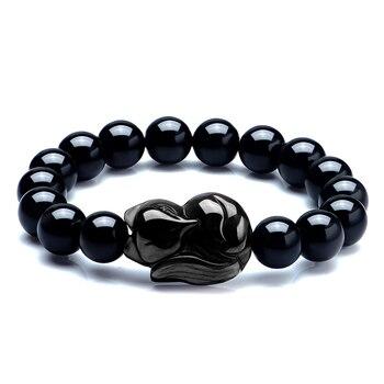 ebb1be457302 Piedra Natural negro obsidiana Fox colgante pulsera de cuentas 8-16mm  pulseras de la suerte