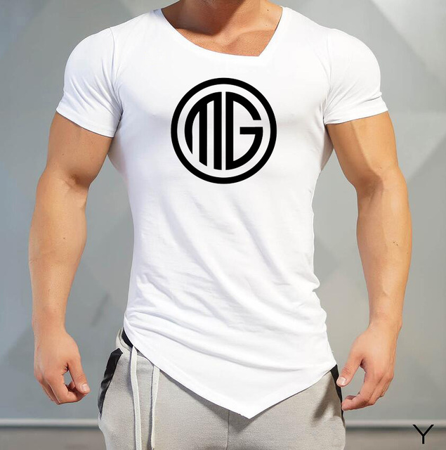 Muscleguys Mens T-Shirts gyms Brand Fitness Bodybuilding Workout Clothes Man Cotton Sporting T Shirt Men plus size