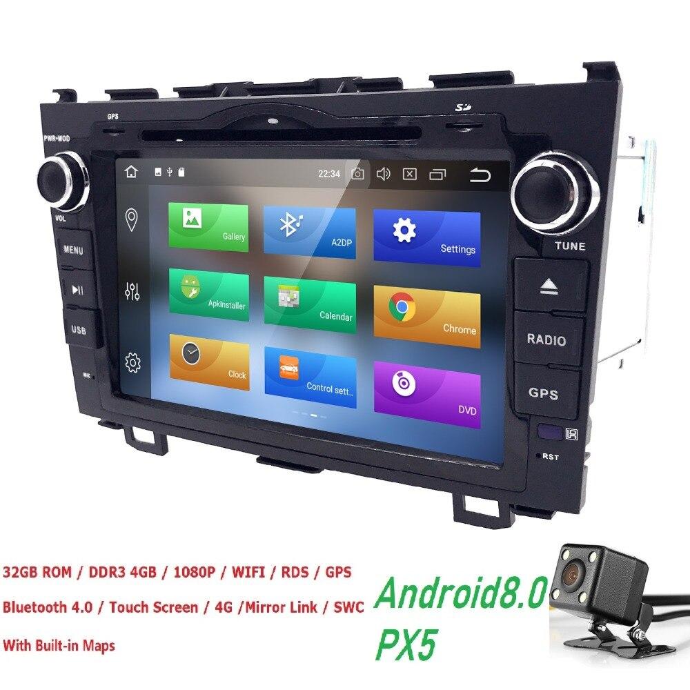 4g + 32g Android8.0 dvd de Voiture lecteur Vidéo Pour Honda CRV 2006-2011 8 OctaCore 8 pouces 2Din Voiture DVD Radio Navigation GPS TPMS OBDII TNT