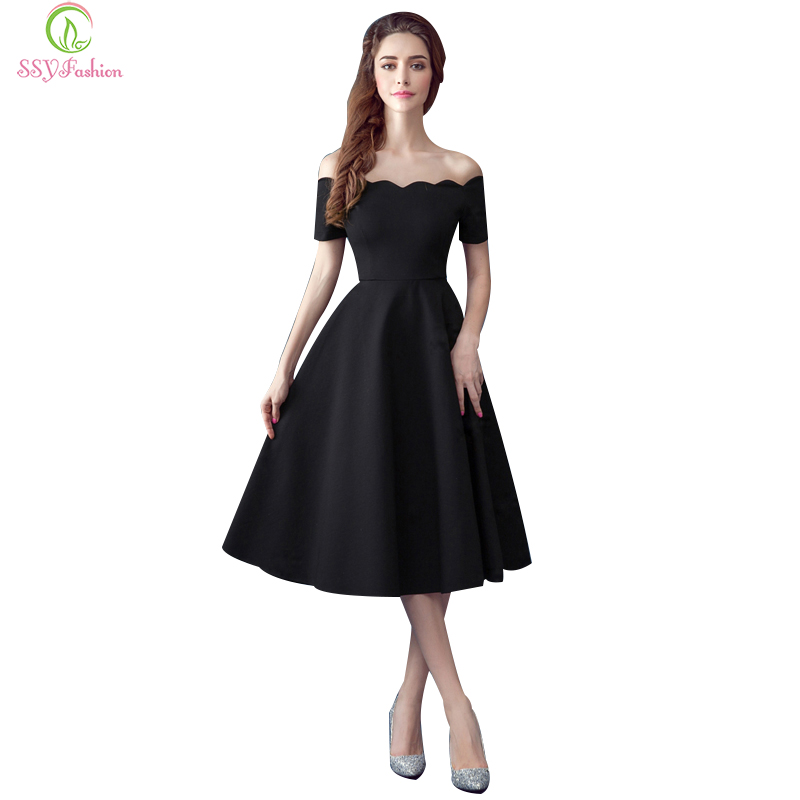 Ssyfashion little black evening dresses boat neck off the for One shoulder tea length wedding dress