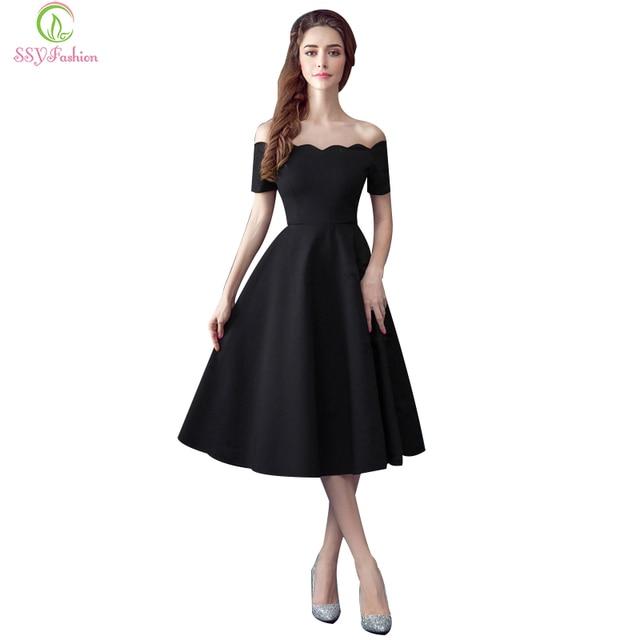 f091e9d75b644 SSYFashion Little Black vestidos de noche cuello barco sin hombros té-Manga  corta longitud Banquete
