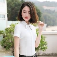 Elegant White Short Sleeve Summer Formal Women Blouses Shirts Chiffon Blusa Fashion Office Ladies Work Wear