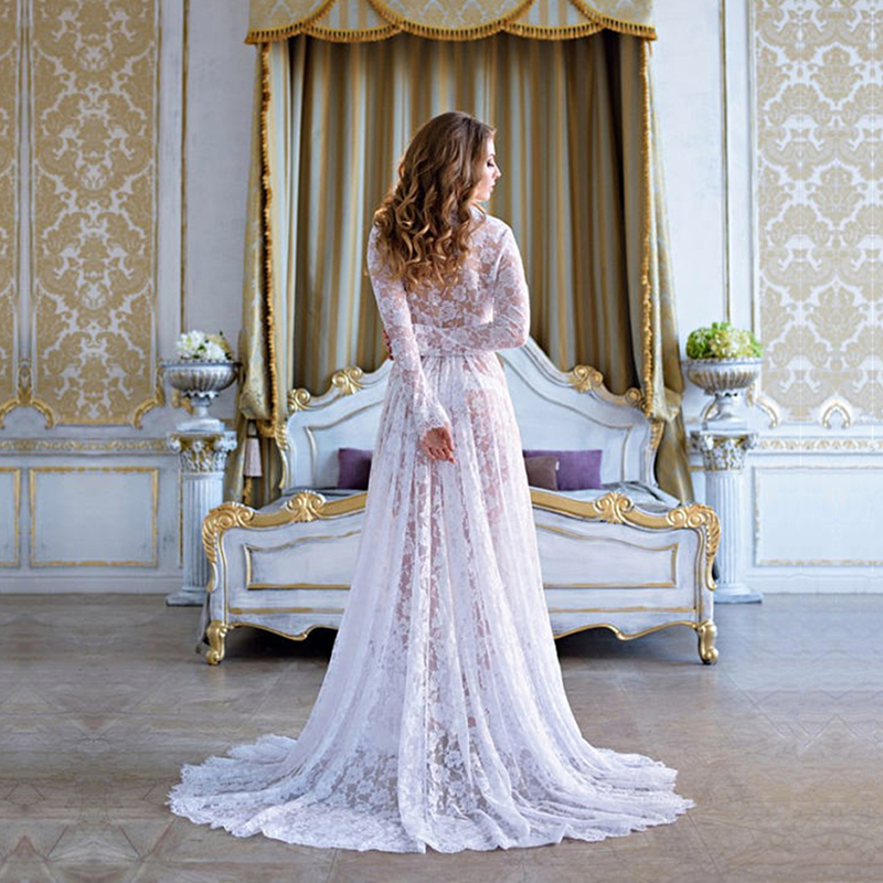 Sexy Women Lace Robes Nightwear Lounge White Bridal Nightgowns Bathrobe Women Lace Maxi Dress Lace Trimmed Bridal Party Robes