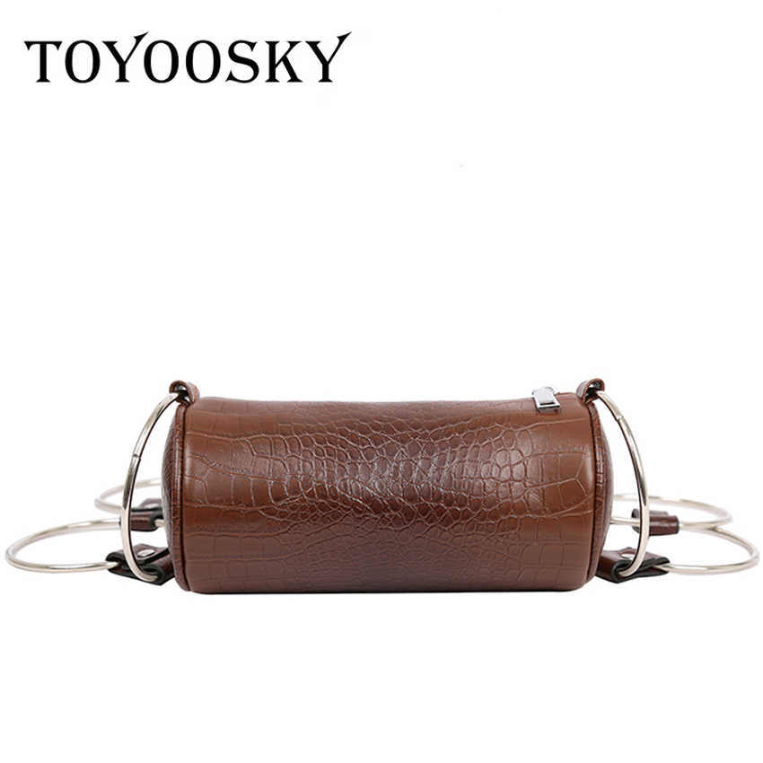 27c51199b7a6 TOYOOSKY Fashion Circular Alligator Leather Crossbody Bag Retro Metal Ring  Handbag Small Round Shoulder Bag Women