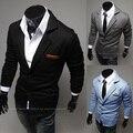 Весной 2016 европейских дизайнер новая мода марка роскошные мужчины мужские джентльмен повседневная buisuness Пиджаки тонкий Вязать костюм черный серый синий
