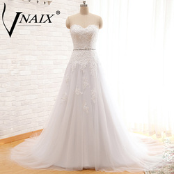 W1164 elegant sweetheart with lace and beading white chapel train tulle wedding dresses vestido de novia.jpg 250x250
