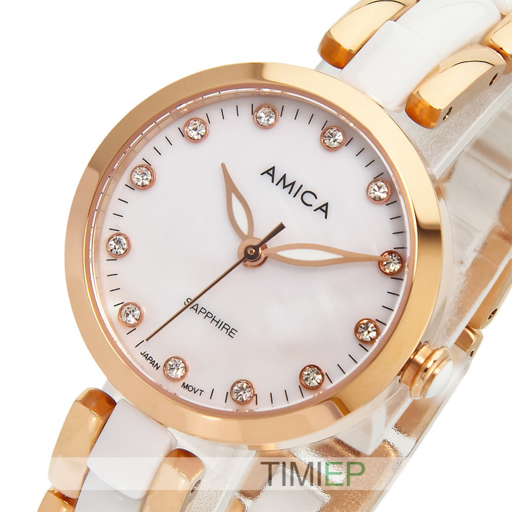 ФОТО Amica Women's D-Ceramics Quartz Sapphire Rose Gold Tone Stainless Steel Wrist Watches A-1-6
