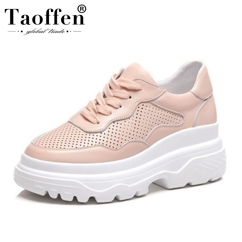 Taoffen Genuine Leather Women Vulcanized Shoes Round Toe Lace Up Breathable Sneakers Women Casual Shoes Size 34-39