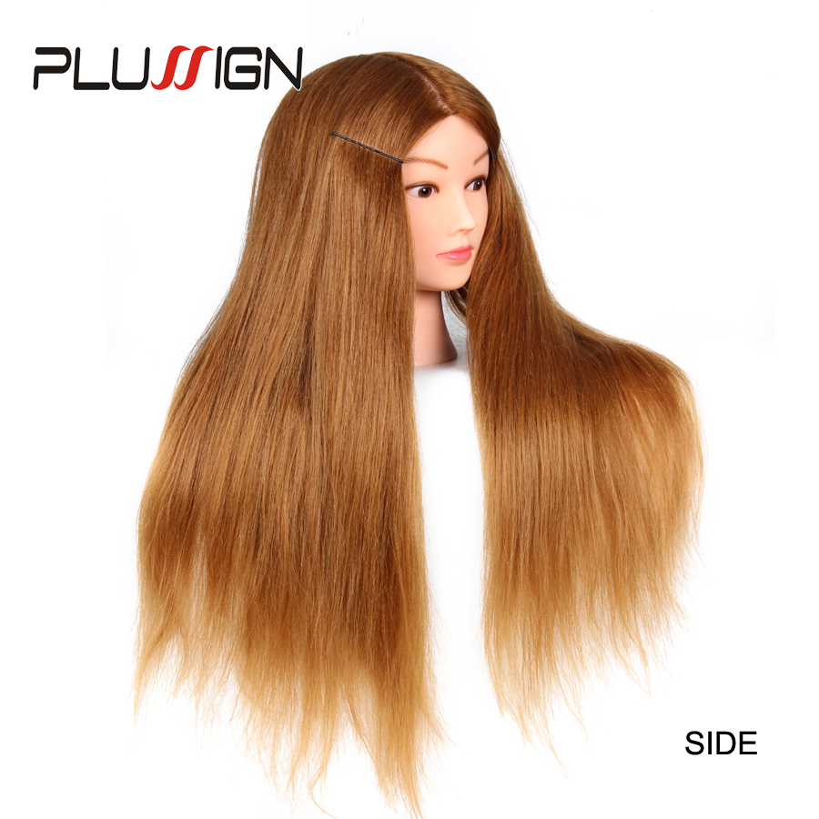 Plussign 40% High Temperature Fiber Long Hair Hairdressing Training Head Model With Clamp Stand Practice Salon Mannequin Head