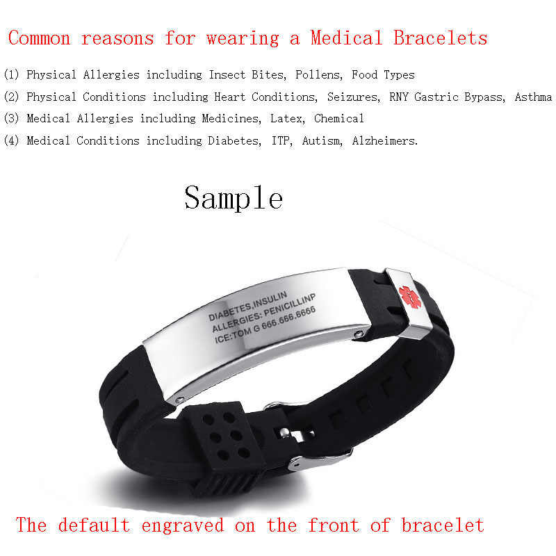 Free Engraving Medical Alert ID Silicone Stainless Steel Adjustable Bracelet