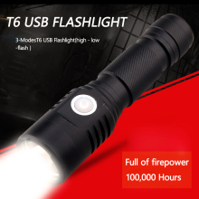 USB Rechargeable 3 Mode Mini Flashlight portability T6 LED Lights Powerful Lumens 18650