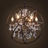 Loft Vintage American Rural creative clothing store restaurant iron pendant light crystal ring