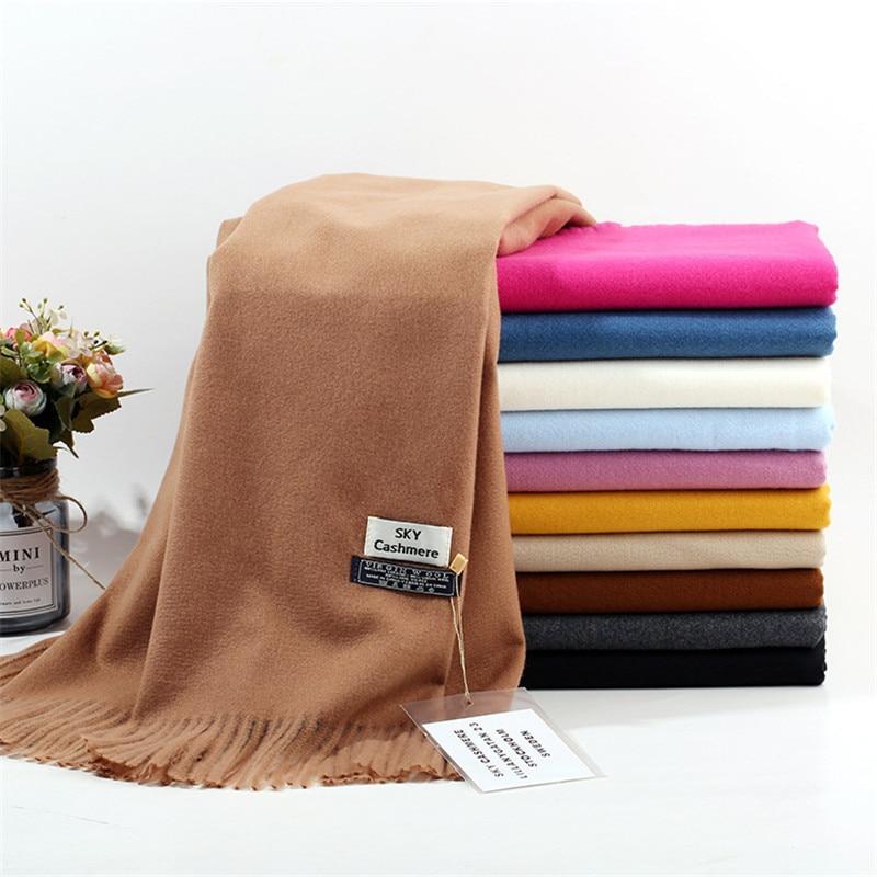 TagerWilen Luxury Brand Winter Scarf Unisex 2019 Female Male Wool Sky Cashmere Scarf Pashmina Tassels Women Men Wrap Shawl