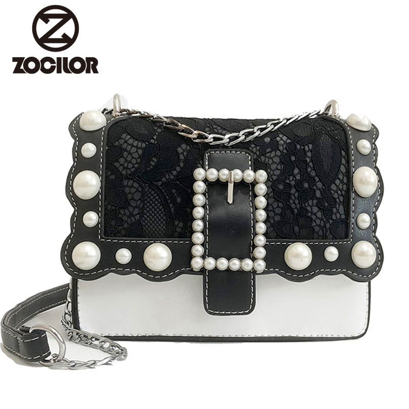 Lace 2018 PU Leather Lace Women Bag Fashion Small Women Messenger Bag Single Strap Shoulder Bag Chain Girls bead Crossbody Bags