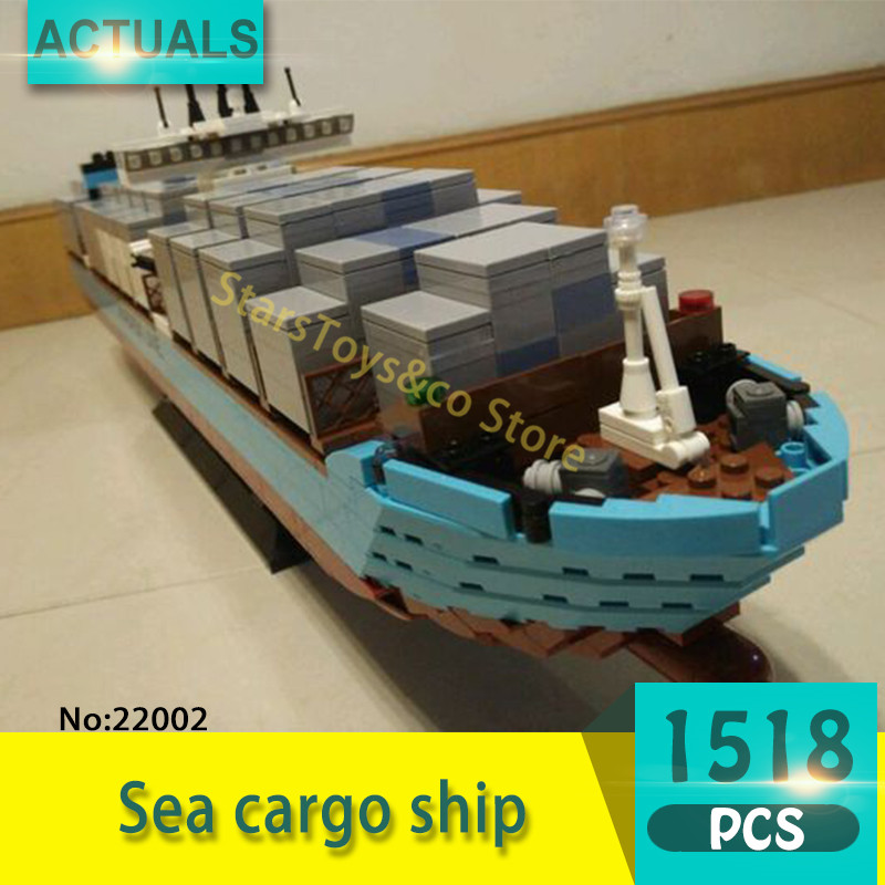 Lepin 22002 1518Pcs Technic Series Sea cargo ship Model Building Blocks Set  Bricks Toys For Children  Gift lepin 16002 2791pcs modular pirate ship metal beard s sea cow building block bricks set toys legoinglys 70810 for children gifts