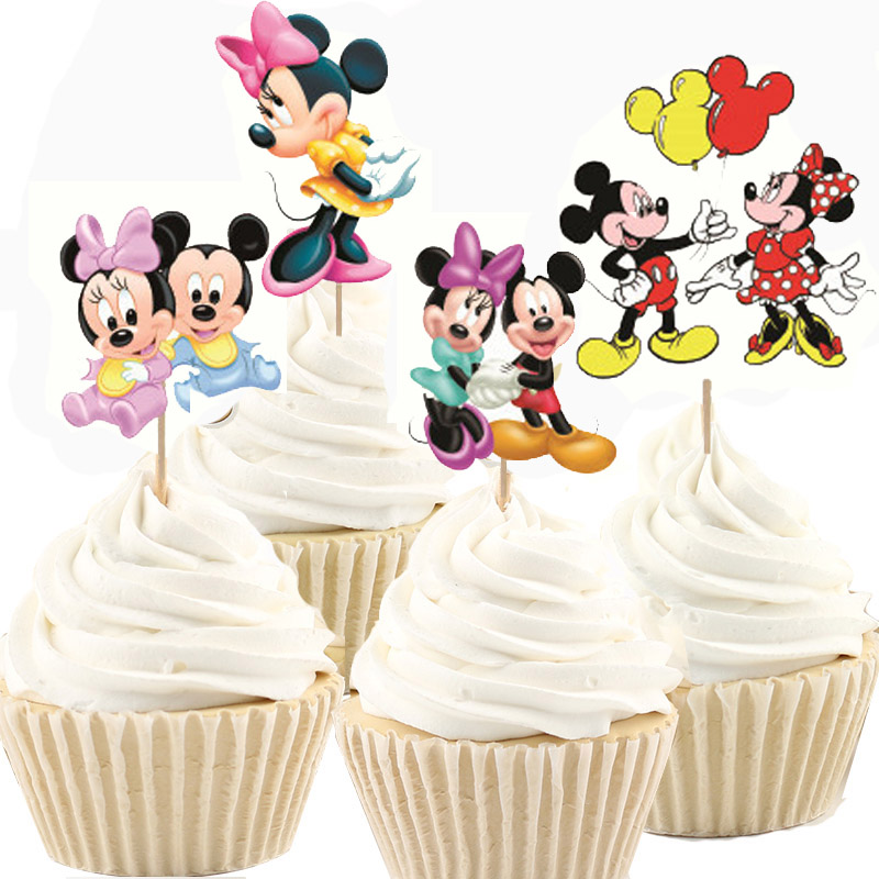 48 Pcs 24 Minnie Mouse Cupcake Wrappers /& 24 Toppers Kids Birthday Party Supply