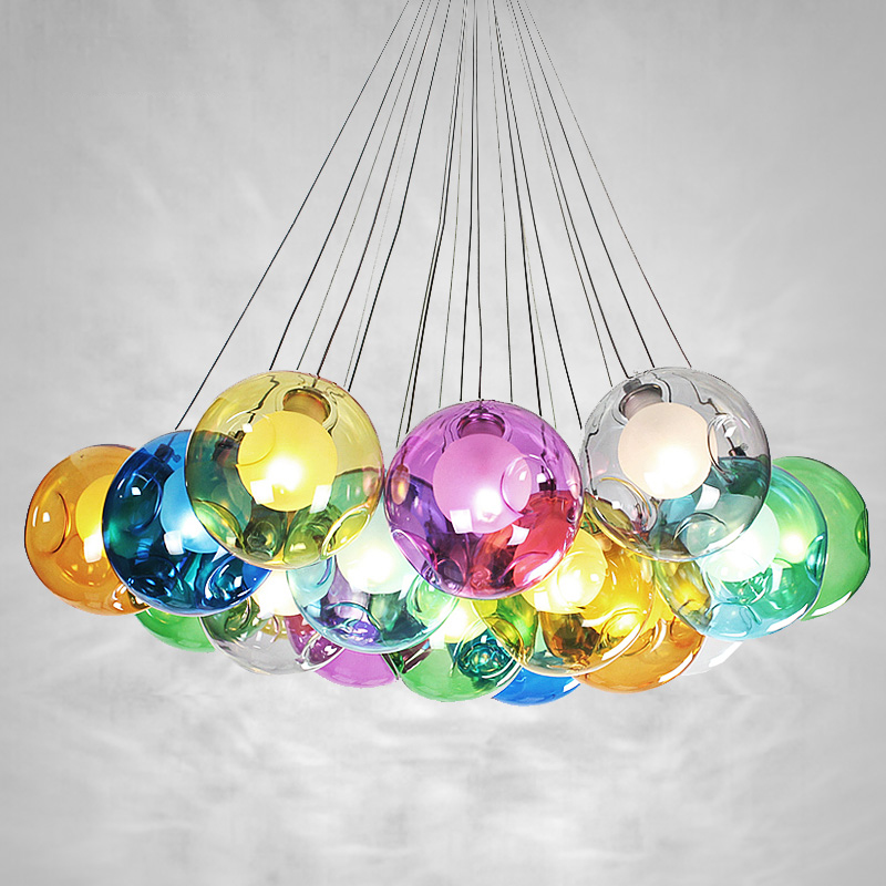 Creative modern colored glass ball bubble double cover glass pendant light 19heads for bar dining room restaurant droplight