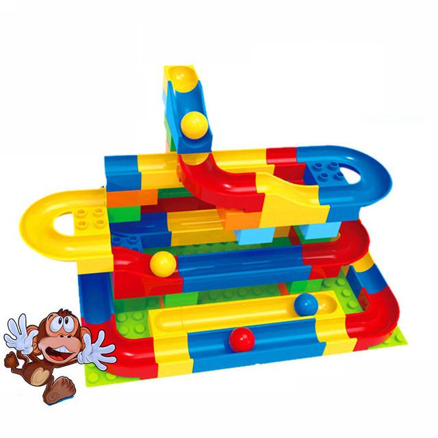 72 unids + run bola de mármol de carrera del bloque hueco diy juguetes educativos para niños compatibles con duplo