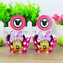 24 pcs  Minnie Mouse Cupcake Wrappers toppers pick Kids Baby Birthday Party Wedding Cake Decoration Cute Supplies