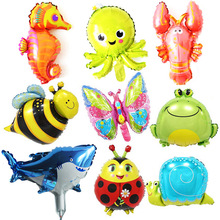 Birthday Party Animal Balloon Under The Sea Decor Jungle Shark Party Decor Air Helium Sea Animales Globos Foil Walking Ballons все цены