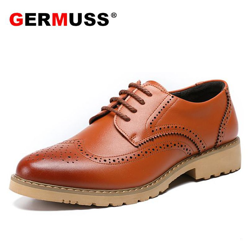 Italian Fashion men shoes genuine leather Luxury Mens Goodyear Welted official shoes Spring Popular Officer leather Dress Shoes