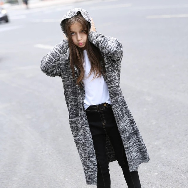 2017 Mohair Knitted Coat for Girl Trendy Long Sleeve Cardigan for Teenage Girl Fashion Child Outerwear Kids Girl's Clothing