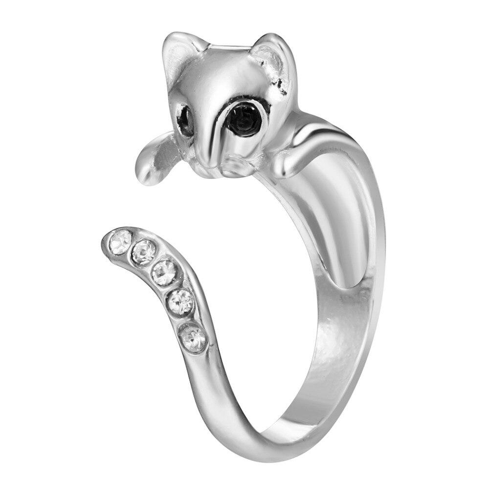 QIAMNI 10pcs Wholesale Hot Fashion Beautiful Shining Crystal Cat Animal Ring for Women and Girls Free Shipping Birthday Gift