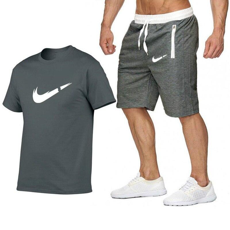2019 T shirt shorts Sets Druck Mnner Marke Kleidung Zwei stck anzug Mnner sportswear Trainingsanzug Turnhallen shorts Set in Men 39 s Sets from Men 39 s Clothing