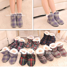 Female Square Grid at Home Indoor Slippers Soft Outsole Indoor Shoes Winter Warm Cotton Padded shoes Large Size 7 Color Optional