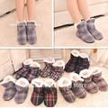 Grade Quadrada feminino em Casa Indoor Chinelos de Sola Macia Interior sapatos de Inverno Quente de Algodão Acolchoado sapatos sapatos de Tamanho Grande 7 Cores opcional