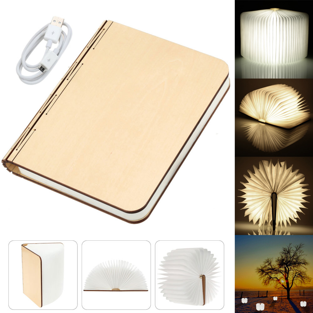 Wood Turning Book LED Night Light USB Rechargeable Folding Nightlight Home Bedside Bedroom Desk Table Lamp Creative Fashion Gift creative flip book page led nightlight