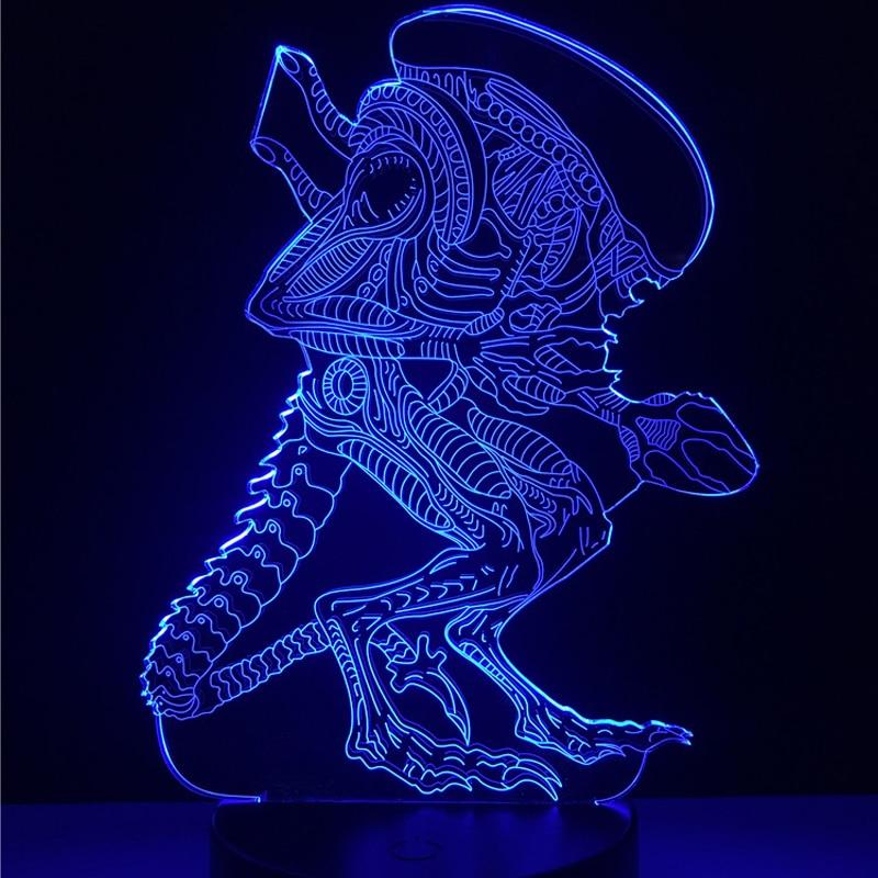 HOT SALE Action Movie Alien vs Predator Prometheus 3D LED USB Lamp 7 Colors Changing Night Light Cool Boy Toy Bedroom Decoration prometheus omnibus