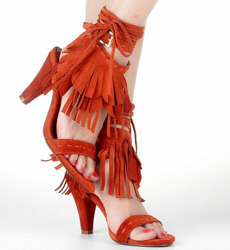 Women Fashion Sandals 6 Colors Cross-Strap Lace-Up Sexy Cross-tied Fringe Summer High Spike Heels Wholesale Ladies Shoes