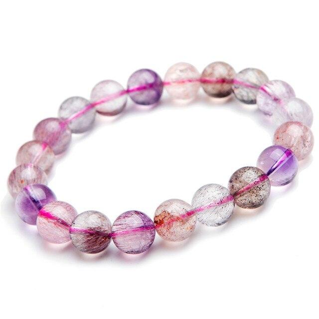 10mm Natural Genuine Super 7 Seven Melody Stone Bracelets Femme Women Charm Stretch Rutilated Quartz Crystal Round Bead Bracelet